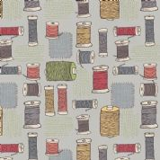 Lewis & Irene Threaded With Love - 5085 - Spools of Thread on Grey-Blue - A184.2 - Cotton Fabric